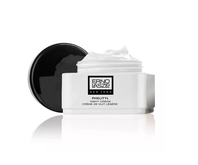 "**Phelityl Night Cream by Erno Laszlo, $226.03 at [NET-A-PORTER](https://www.net-a-porter.com/au/en/product/1118124?gclsrc=aw.ds&cm_mmc=Google-ProductSearch-AU--c-_-NAP_EN_AU_PLA-_-NAP+-+AU+-+GS+-+Designer+-+Class_Beauty+-+Type_Skincare%C2%A0-%C2%A0High%C2%A0-%C2%A0BT--Skincare+-+Night+Cream-_-__aud-534380306300:pla-538510876044_APAC&gclid=CjwKCAiAg9rxBRADEiwAxKDTurabr_9LRQuJybLNmEr0N0QSwhRptDVVswmQaithoiBAJqEP0LtoThoCaq8QAvD_BwE&gclsrc=aw.ds|target=""_blank"")**<br> Don't let the lightweight texture fool you; deep hydration is on its way."
