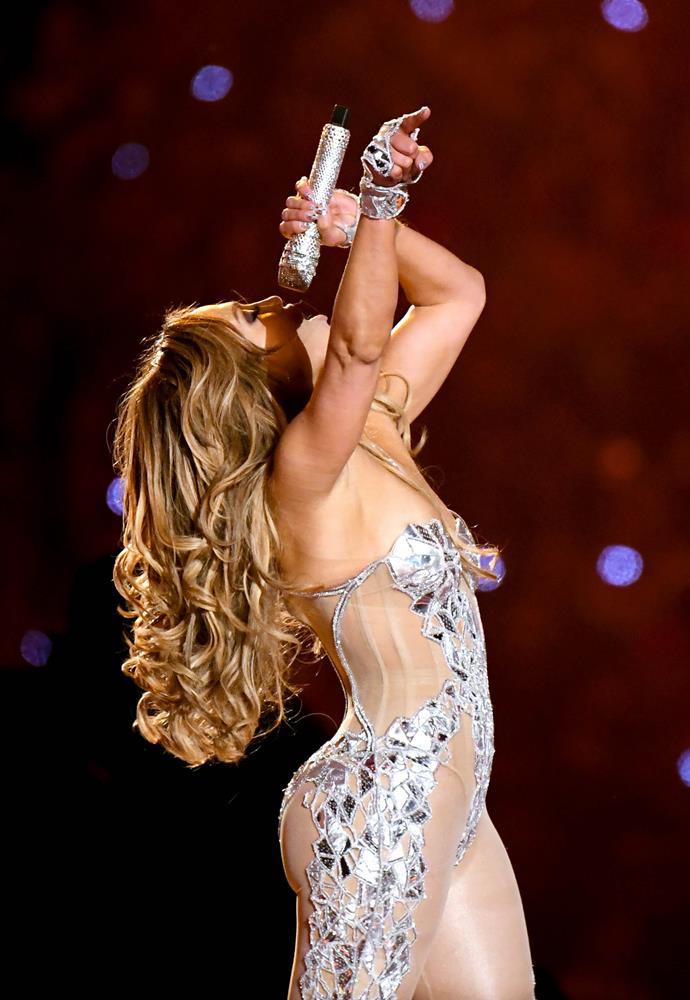 Jennifer Lopez's flawless curls at the 2020 Super Bowl LIV Halftime Show on February 2, 2020.