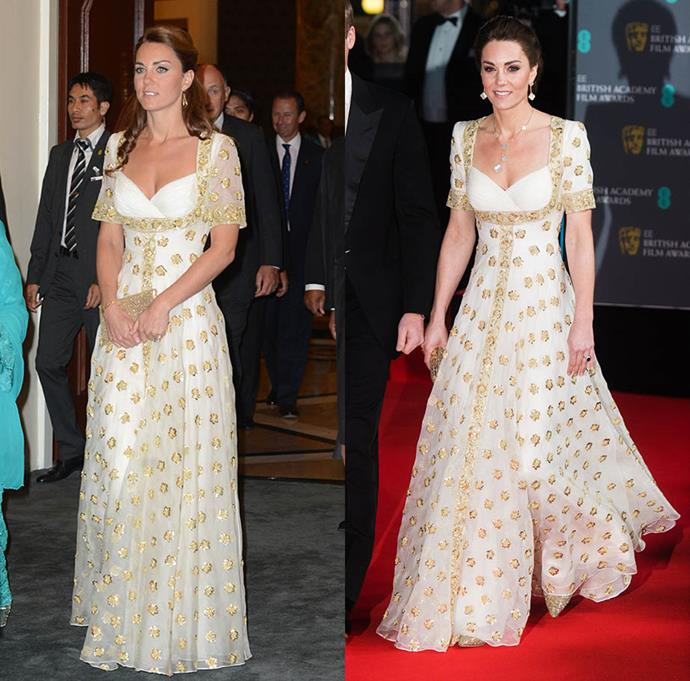 "***Alexander McQueen dress***<br> The Duchess adhered to the [2020 BAFTAs](https://www.harpersbazaar.com.au/fashion/baftas-2020-red-carpet-19862|target=""_blank"") theme of sustainability by rewearing an embellished Alexander McQueen gown she first wore in Malaysia in 2012 (left)."