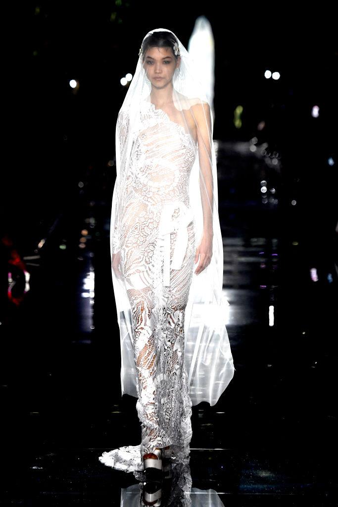 Mika Schneider in the ethereal Tom Ford bridal dress that closed the show (a common trend for designers presenting couture or collections that feature ball gowns).
