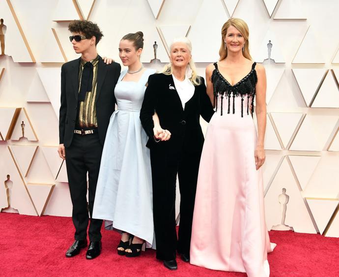 Laura Dern with her son Ellery Harper, daughter Jaya Harper, and mother Diane Ladd.