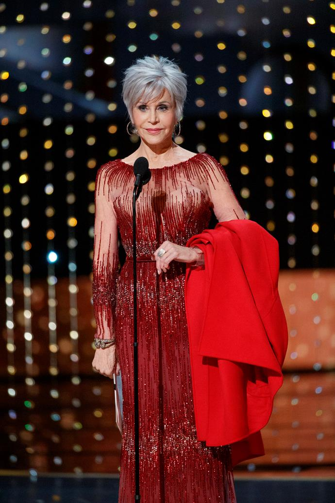 Jane Fonda's Elie Saab dress is an old favourite—she first wore it to Cannes in 2014.