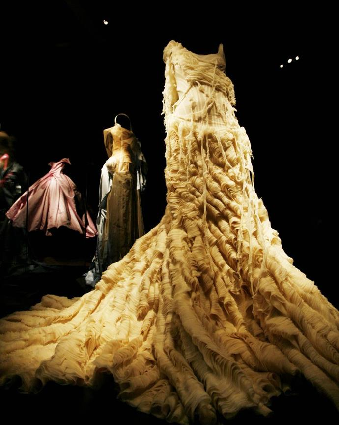 An Alexander McQueen 'Oyster' dress is displayed in New York.