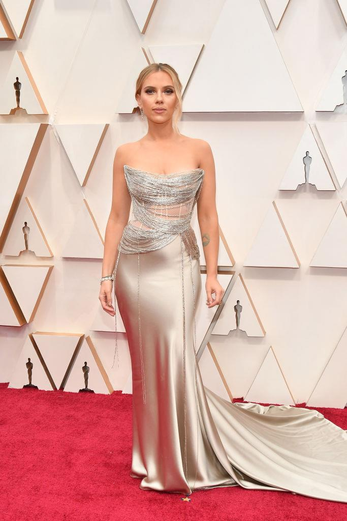 "**Scarlett Johansson in Oscar de la Renta** <br><br> ""The dress is tailored beyond perfection to fit her perfectly."" *— Nichhia Wippell, Fashion Office Coordinator*"