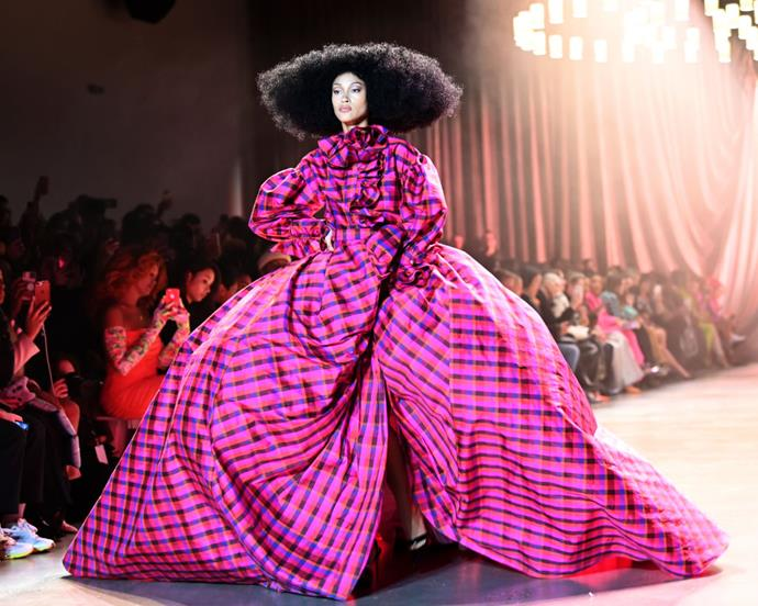 **Christopher John Rogers** <br><br> While CJR's vibrant looks were always going to be amazing, the young designer's giant layered dresses were one of the most instantly memorable moments of this NYFW (especially with the addition of this unforgettable hair). <br><br> *Image: Getty*
