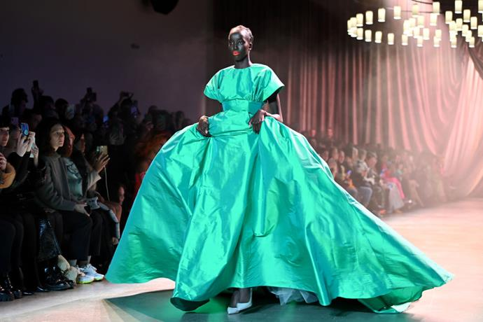 **Christopher John Rogers** <br><br> For those who prefer plain monochromatic silhouettes over in-your-face patterns, Rogers' single-hued dresses, albeit still in an eye-catching shade, were just as inspiring. <br><br> *Image: Getty*