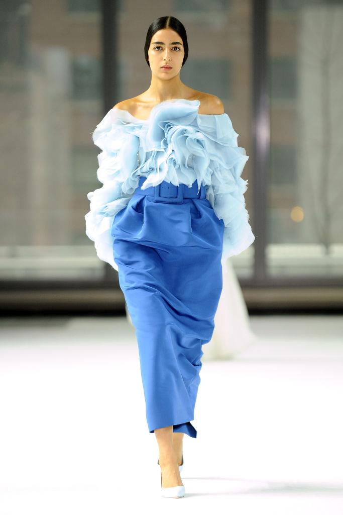 **Carolina Herrera** <br><br> It wouldn't be a Carolina Herrera show if you didn't want to reach out and feel the voluminous garments for yourself, which involve the kind of intricacy we've come to expect from creative director Wes Gordon. <br><br> *Image: Getty*