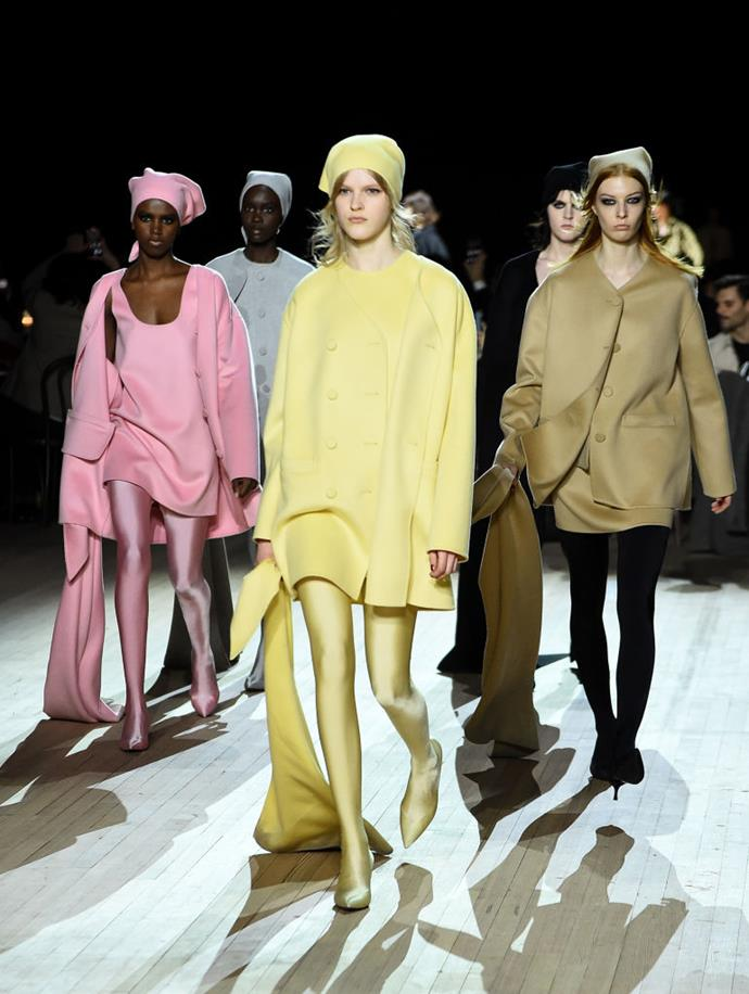 **Marc Jacobs** <br><br> Aside from a surprise runway appearance by a lingerie-clad Miley Cyrus, Marc Jacobs' retro obsession continued this season, with his '60s-reminiscent garments stepping even further back than the '70s-infused collection he showed six months prior. <br><br> *Image: Getty*