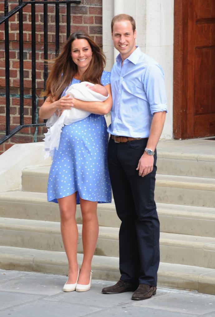 Kate Middleton and Prince William with their newborn son, Prince George, in July 2013.