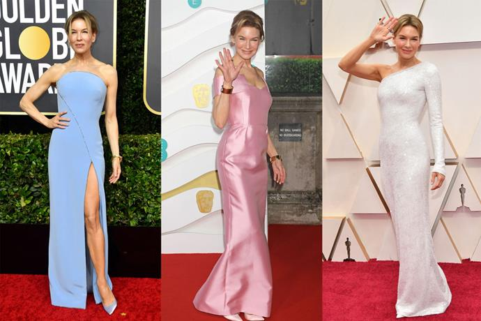 **Renée Zellweger** <br><br> If anyone gave a name to frill-free, effortless red carpet style during the 2020 season, it was Renée Zellweger. As the winning favourite at most ceremonies for her performance in *Judy*, Zellweger made sure to pick garments she'll never look back and cringe at, by way of labels like Armani Privé (left and right) and Prada (centre).