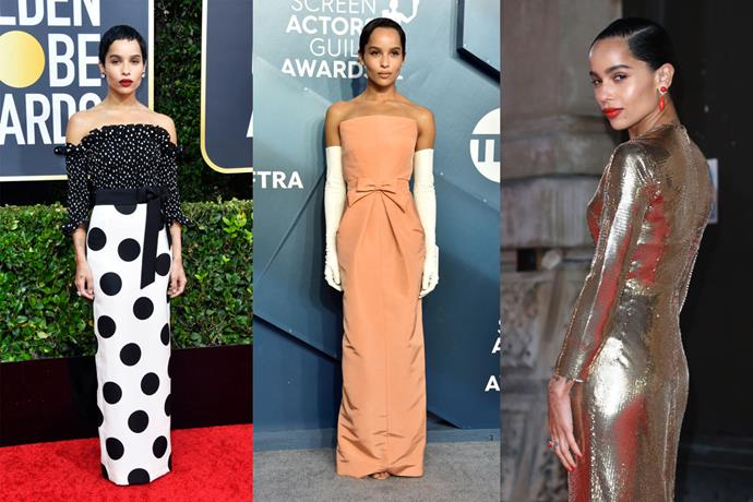 **Zoë Kravitz** <br><br> For a long time, Kravitz was an unsung red carpet hero, but throughout 2019 and 2020, her timeless style found its way to the forefront. Though she's a Saint Laurent ambassador—wearing the label to the Golden Globes, left, and the BAFTAs, right—the *Big Little Lies* actress made us audibly gasp with her tangerine, Jackie Kennedy-inspired Oscar de la Renta gown she wore at the SAG Awards (long dinner gloves included).