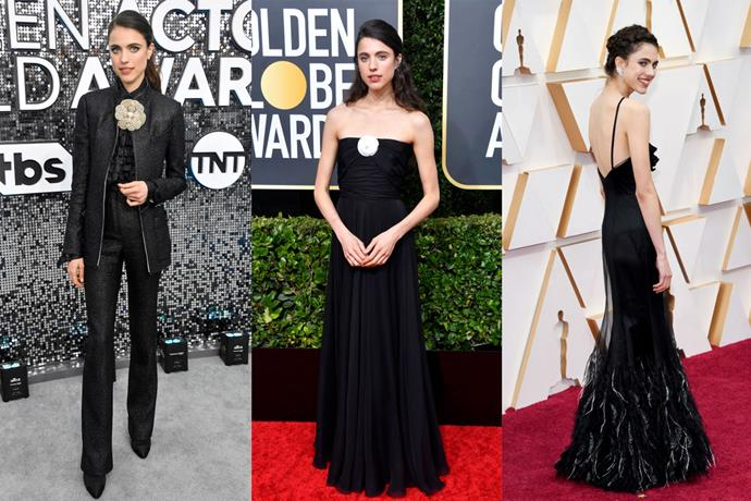 **Margaret Qualley** <br><br> After finding her breakout role in 2019's *Once Upon a Time in Hollywood*, Qualley's Chanel ambassadorship helped her become one of our favourites to watch on the red carpet. Rarely straying from black, the actress sported looks from Virginie Viard's new-era Chanel at the SAG Awards, the Globes and finally, the Oscars—two of which involved the house's famous camellia flower brooch.