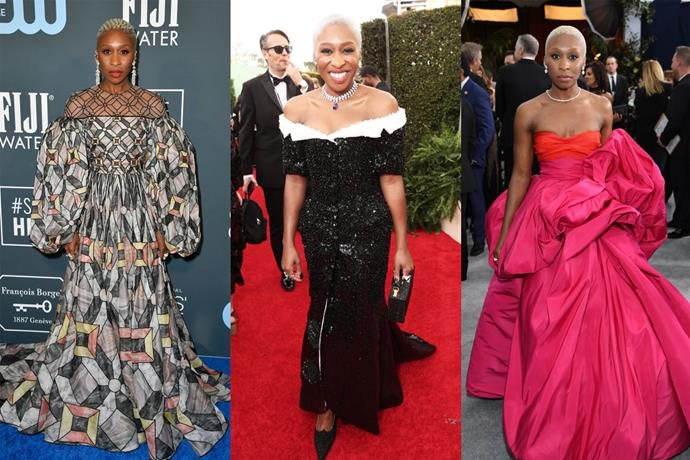 **Cynthia Erivo** <br><br> While many actresses opted for simplicity this season, Cynthia Erivo used the various red carpet events to show off her exuberant style. Between the Globes and the Oscars, the *Harriet* actress donned plenty of memorable looks, including mosaic-print Fendi Couture (left) and tuxedo-reminiscent Thom Browne (centre).