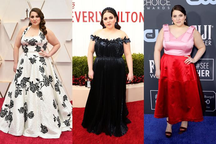 **Beanie Feldstein** <br><br> *Booksmart* star Beanie Feldstein made traditional silhouettes her own this season, culminating in navy Grecian-style Oscar de la Renta at the Golden Globes (centre) and the dreamy floral Miu Miu gown she wore at the 2020 Academy Awards (left). Hair and beauty on point, too.