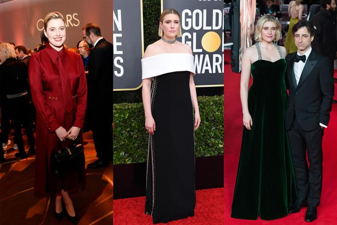 **Greta Gerwig** <br><br> Though her film, 2020's *Little Women*, was often unfairly overlooked this season, Greta Gerwig made the red carpet her own with her signature brand of timeless, frill-free style. Steering clear of over-the-top silhouettes and dramatic beauty looks, Gerwig cemented her as a pared-back idol this season, and showed she can rock a red Gucci suit and tie better than any of us.