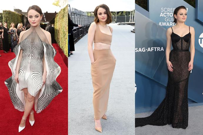 **Joey King** <br><br> It takes courage (that, or true fashion girl status) to don Iris van Herpen's alien-like garments, but Joey King managed to do so with aplomb at the 2020 Golden Globes (left). Since then, the *The Act* star has showed her sophisticated red carpet style in nude Paris Georgia (centre) and sultry black Jason Wu (right).