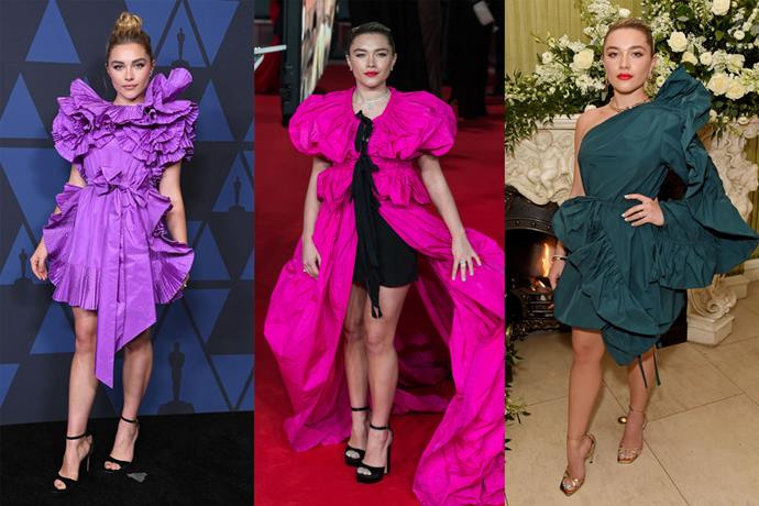 **Florence Pugh** <br><br> With her penchant for standout ensembles, *Little Women* and *Midsommar* star Pugh was one to watch on each red carpet. With the help of her stylist, Rebecca Corbin-Murray, Pugh proved this season that voluminous, frilly gowns were her forte, by way of labels like Dries van Noten (centre) and Pierpaolo Piccioli's effervescent Valentino (left and right).