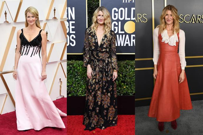 **Laura Dern** <br><br> As an award frontronner for her role in 2019's *Marriage Story*, many people expected all-out glamour from Laura Dern, but the actress gave her own simpler, more unique take on things—case in point, the demure Saint Laurent gown she wore at the Golden Globes (centre), and the unexpected Armani Privé gown she wore to attend the Oscars (left).