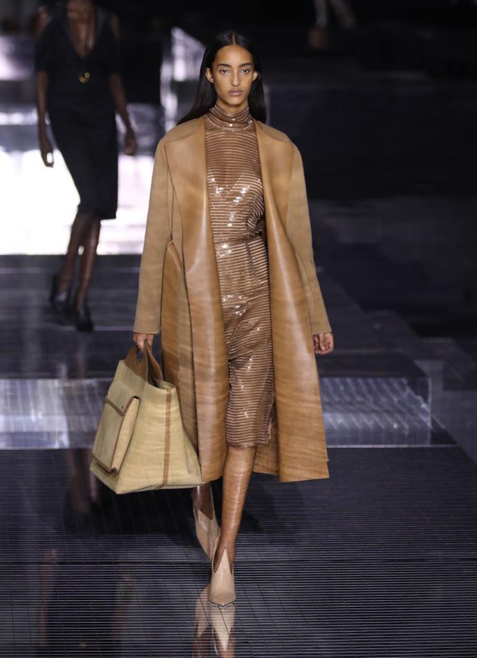 Model Mona Tougaard on the runway.