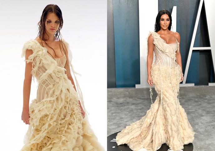 In vintage Alexander McQueen spring/summer '03 (designed to channel a 'shipwrecked' dress) at the 2020 *Vanity Fair* Oscar Party.