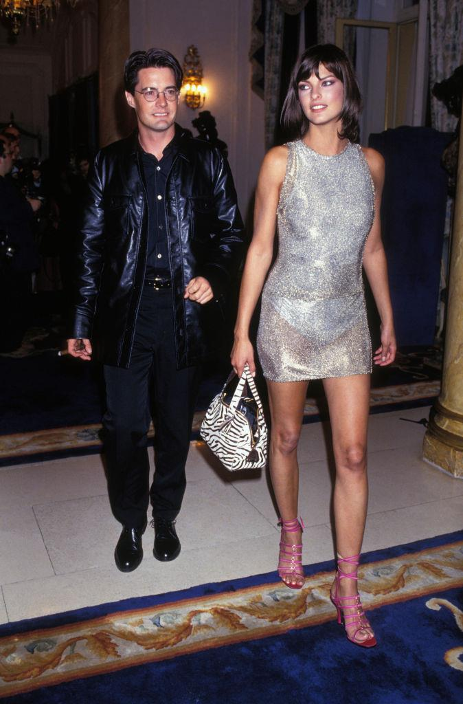 **Linda Evangelista and Kyle MacLachlan** <br><br> Between 1992 and 1998, iconic supermodel Linda Evangelista dated Kyle MacLachlan, who's famous for his roles in *Twin Peaks* and as Trey on *Sex and the City*. In 1995, the two became engaged after dating for three years, before ending the engagement three years after that.