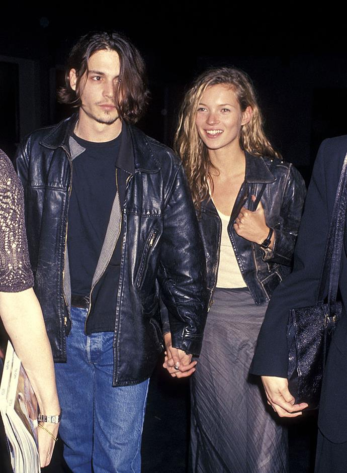 """**Kate Moss and Johnny Depp** <br><br> Moss and Depp instantly became one of the world's coolest couples when they began dating around 1994. In a 2012 interview with *[Vanity Fair](https://www.vanityfair.com/news/2012/10/kate-moss-years-of-crying-johnny-depp