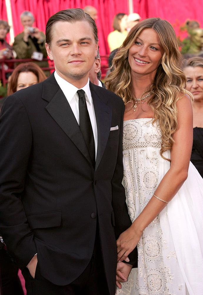 """**Gisele Bündchen and Leonardo DiCaprio** <br><br> DiCaprio has had plenty of [famous girlfriends](https://www.harpersbazaar.com.au/celebrity/comprehensive-history-of-all-leonardo-dicaprios-girlfriends-14761