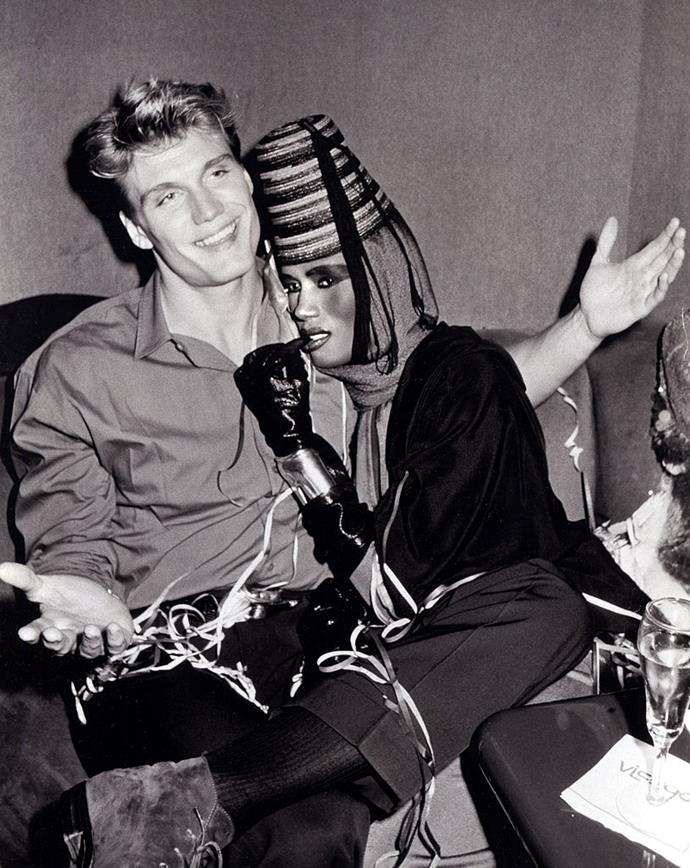 **Grace Jones and Dolph Lundgren** <br><br> Though she's also an actress and musician, '80s fashion muse Grace Jones enjoyed an intense, long-term relationship with Swedish actor and bodybuilder Dolph Lundgren in the mid-1980s. The couple became known for their wild partying in New York and Paris, as well as their risqué (and consequently iconic) couple portraits taken by fashion photographer Helmut Newton.