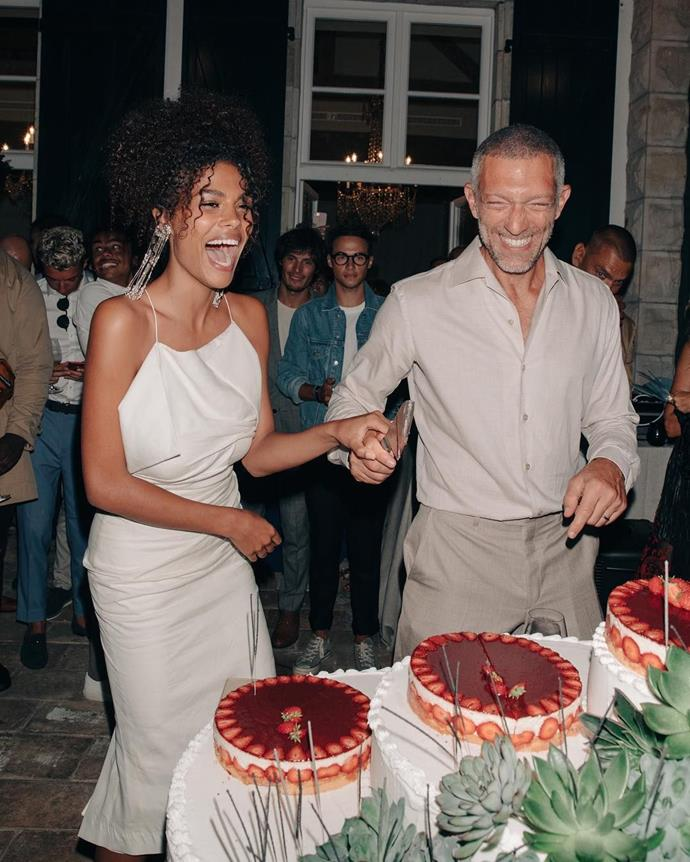 """**Tina Kunakey and Vincent Cassel** <br><br> French model Tina Kunakey wed French acting royalty Vincent Cassel in 2018 when she was 21 years old (and we'll never forget the ethereal [Jacquemus](https://www.harpersbazaar.com.au/fashion/jacquemus-diet-prada-fight-16857