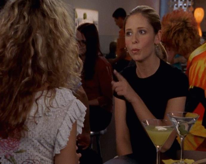 **Sarah Michelle Gellar (season three, episode 13)** <br><br> The *Buffy* actress was one of a handful of encounters Carrie had when she, Samantha and Miranda visited Los Angeles in season three, playing a young Hollywood producer looking to turn Carrie's book into a film.