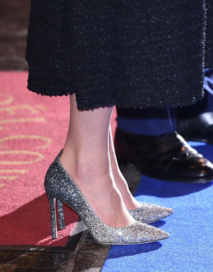 Duchess Kate's Jimmy Choo sparkly heels.