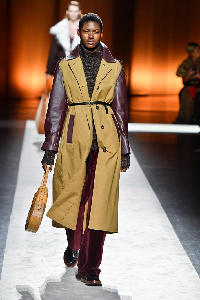 **Tod's** drew a particularly chic crowd this year, who were no doubt delighted to see the '70s-style patchwork shirts, coats, suits and accessories in our favourite autumnal shades.