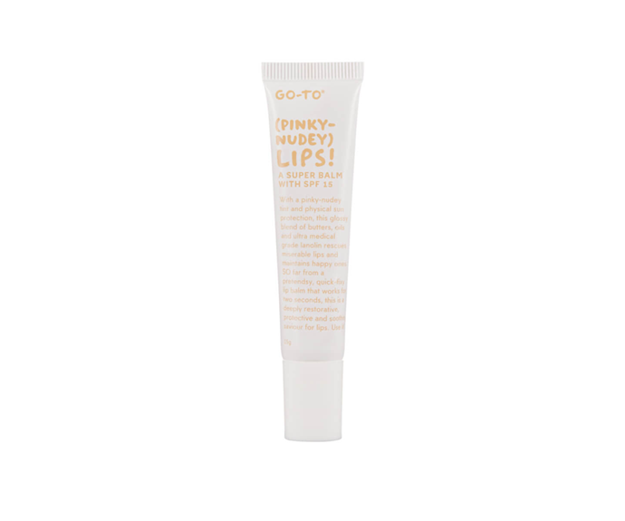 """**Pinky-Nudey Lips! by Go-To, $17 at [MECCA](https://www.mecca.com.au/go-to/pinky-nudey-lips/I-038681.html?cgpath=makeup-lipbalm target=""""_blank"""")**<br></br> True to it's name, this balm-tint hybrid delivers the perfect pink-nude blend."""