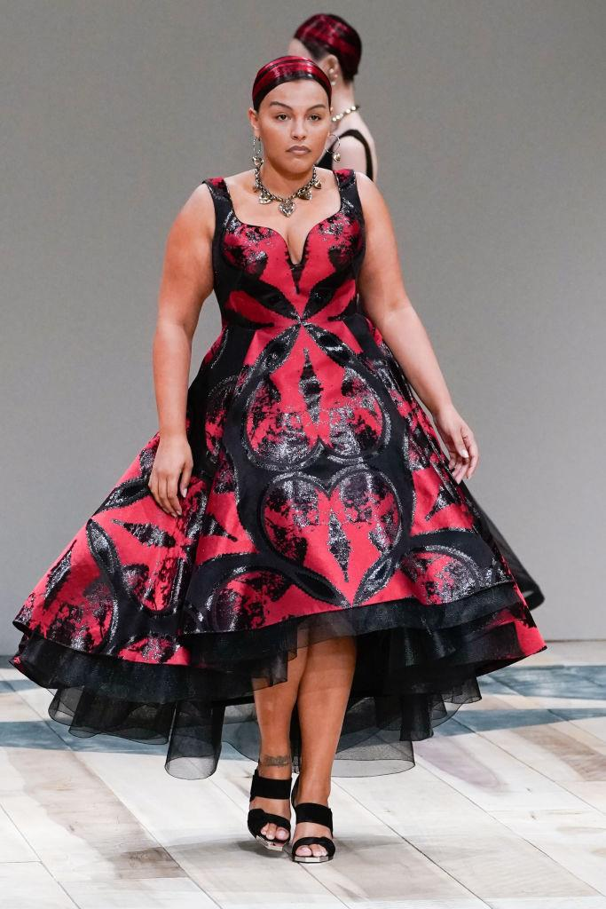 **Alexander McQueen** <br><br> By casting models Paloma Elsesser (pictured) and Jill Kortleve, Sarah Burton's Alexander McQueen presented clothes for all women at autumn/winter '20. In Burton's collections, the devil is truly in the details, with most of the standout looks involving her signature frilled white blouses, cinched bodices, leather coats, and elaborate lace patterns.