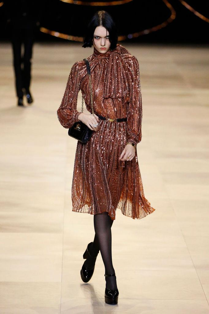 "**Celine by Hedi Slimane** <br><br> Hedi Slimane's vision for '[bougie](https://www.harpersbazaar.com.au/fashion/bougie-trend-2019-18294|target=""_blank"")', punk-infused style continued at Celine this season, with models embodying the well-to-do French bourgeoisie of the '60s and '70s. Four seasons after his [polarising debut](https://www.harpersbazaar.com.au/fashion/celine-hedi-slimane-17453