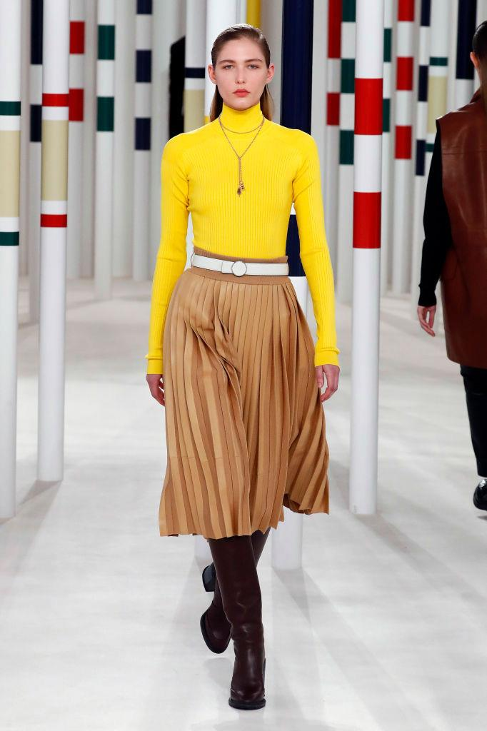 **Hermès** <br><br> As a brand, Hermès is often be associated with unapologetic opulence and extravagance, but the label's autumn/winter '20 show presented a vibrant vision—one of exuberant colour, wearable silhouettes, and naturally, plenty of statement leather.