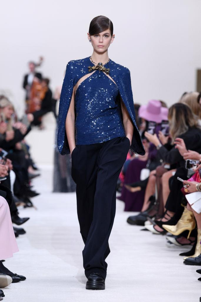 **Valentino** <br><br> Though he's the unofficial master of exuberance and bold colour, Pierpaolo Piccioli pared things back at his Valentino show this season. The result of a toned-down Pierpaolo collection, however, still involved plenty of sequins, chic black dresses, and plenty of florals.