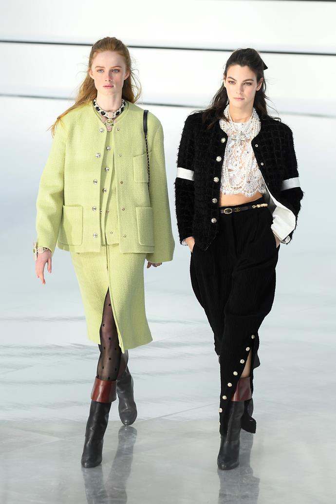 "**Chanel** <br><br> Chanel went back to basics this season, with artistic director Virginie Viard debuting an easy-to-love collection that played on the house's timeless strengths (tweed, effortless tailoring, and cultish accessories). In an exciting move, Dutch model [Jill Kortleve](https://www.harpersbazaar.com.au/fashion/jill-kortleve-chanel-20009|target=""_blank"") also became the first 'plus-sized' model to be cast in a Chanel show in a decade."