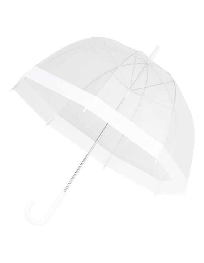 "See-thru bird cage white boarder umbrella by Shelta, $34.95 at [MYER](https://www.myer.com.au/p/shelta-se-thru-bird-cage-white-border|target=""_blank""|rel=""nofollow"")."