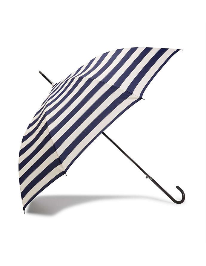 "Stripe monsoon umbrella by Gregory Ladner, $19 at [David Jones](https://www.davidjones.com/Product/21074949/Stripe-Monsoon-Umbrella|target=""_blank""|rel=""nofollow"")."
