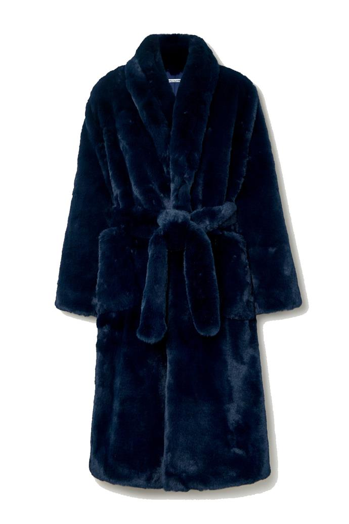 """**'Hudson' belted faux-fur coat by Reformation, $593 at [Net-a-Porter](https://fave.co/2PYhjlJ