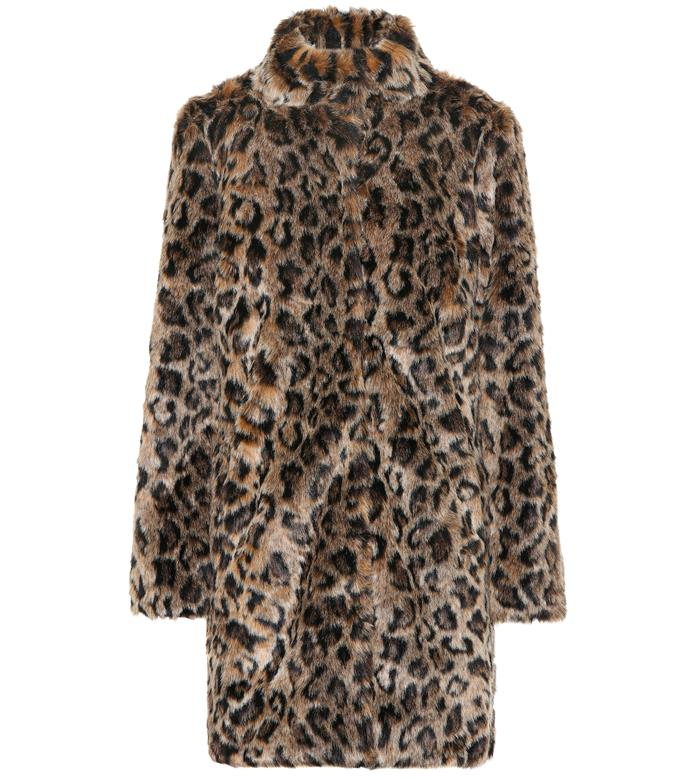 """**'Chrissie' leopard faux-fur coat by Velvet, $500 at [Mytheresa](https://fave.co/2VUnTOa