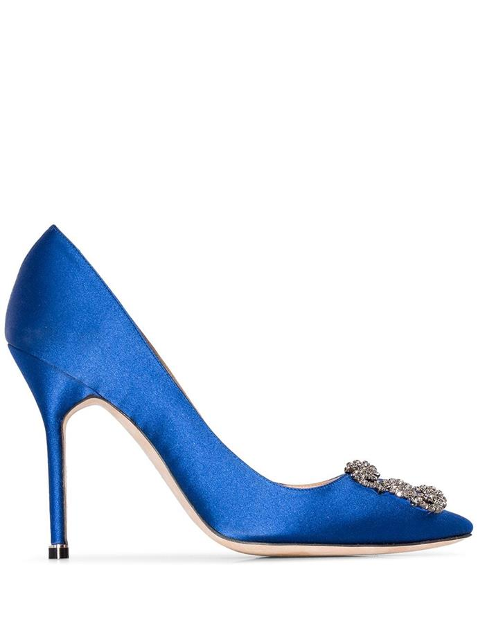 "**MANOLO BLAHNIK SATIN PUMPS** <br><br> Manolo Blahnik Royal Blue Hangisi 105 Satin Pumps, $1,230 at [Farfetch](https://www.farfetch.com/au/shopping/women/manolo-blahnik-royal-blue-hangisi-105-satin-pumps-item-12763222.aspx?storeid=9359|target=""_blank""|rel=""nofollow"")."