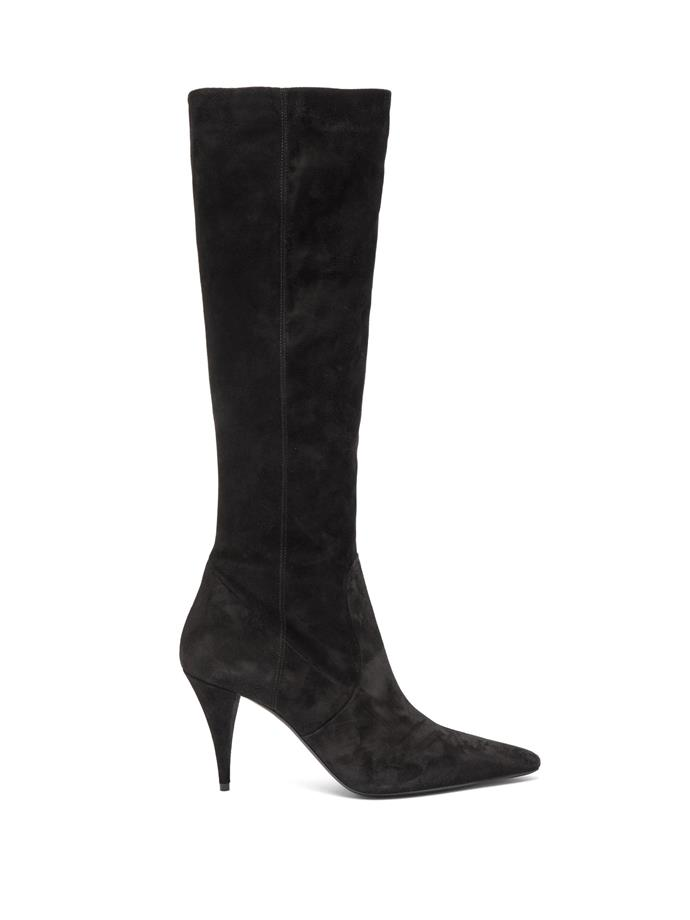 """**SAINT LAURENT KNEE-HIGH BOOTS**<br><br>  Saint Laurent Kiki Pointed Sueded Knee-High Boots, $,1870 at [MATCHESFASHION.COM](https://www.matchesfashion.com/au/products/Saint-Laurent-Kiki-pointed-suede-knee-high-boots-1289120