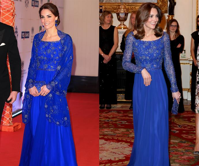 ***Blue embroidered Jenny Packham dress*** <br> For a charity gala dinner in March 2020, Duchess Kate re-wore an embroidered, deep blue Jenny Packham gown that she last wore during a visit to India in 2016 (albeit without the accompanying embroidered shawl).