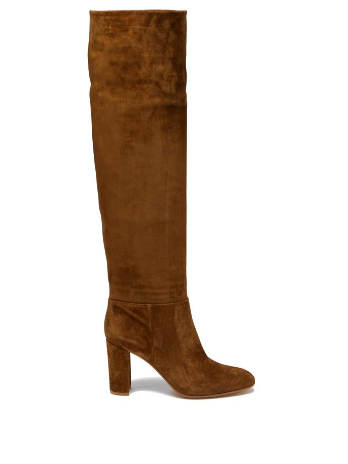 "**'Melissa 85' knee-high suede boots by Gianvito Rossi, $2,640 at [MATCHESFASHION.COM](https://www.matchesfashion.com/au/products/Gianvito-Rossi-Melissa-85-knee-high-suede-boots-1320684|target=""_blank""