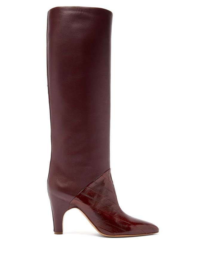 "**'Rimbaud' patent-leather panel knee-high boots by Gabriela Hearst, $2,187 at [MATCHESFASHION.COM](https://www.matchesfashion.com/au/products/Gabriela-Hearst-Rimbaud-patent-leather-panel-knee-high-boots-1329560|target=""_blank""