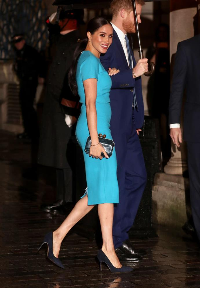 **Meghan Markle, the Duchess of Sussex in Victoria Beckham (2020)** <br><br> After months spent living in Canada, Meghan, Duchess of Sussex returned to the U.K. in March 2020 for her final round of obligations as a 'senior royal'. Though the constant media and public scrutiny she's faced would send most of us into a headspin, the Duchess' inaugural fashion moment proved some time away can do a lot of good. <br><br> Meghan's Victoria Beckham dress (paired with a noticeable natural glow) was a moment for the books, and her relaxed energy was palpable.