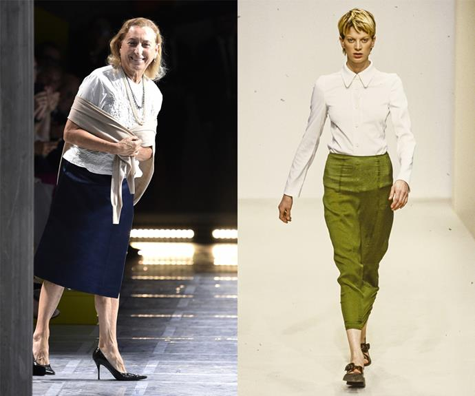 **Miuccia Prada (Prada, Miu Miu)** <br><br> Not many designers tapped into the womenswear psyche quite like Miuccia Prada did when she launched her first collections in the late 1980s. By the '90s, Prada's simple, effortless designs (pictured) were garnering global traction, and by the '20s, Prada's influence on the fashion world is unmatched. <br><br> Though her designs subscribe to a specific brand of quirky-chic, Ms. Prada's most iconic items—including knitwear, fitted shirts and retro-inspired patterns—helped contribute to a new era of female autonomy in fashion.