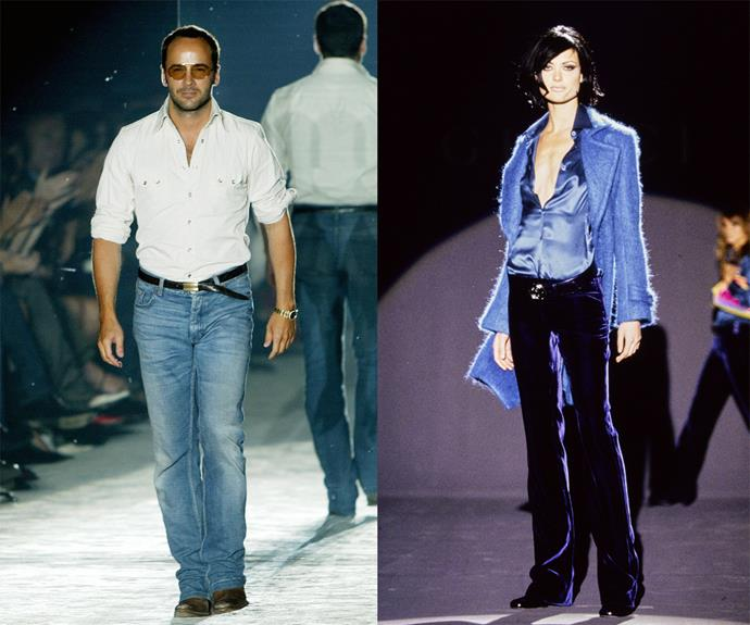 """**Tom Ford (Gucci and his own eponymous brand)** <br><br> In the mid-'90s, young American designer Tom Ford turned Gucci, a small, history-seeped Italian fashion house, into an overnight sensation (""""I had a moment where nobody was looking at anything I did,"""" Ford told *[The Cut](https://www.thecut.com/2015/04/tom-ford-gets-candid-about-his-years-at-gucci.html